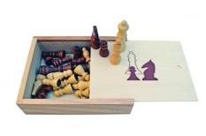 Πίονια για Σκάκι Ξύλινα 72mm με Ξύλινο Κουτί