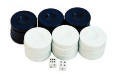 Πούλια για Τάβλι Μεσαία Μαύρα/Λευκά 27mm