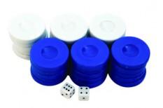 Πούλια για Τάβλι Μεσαία Μπλε/Λευκά 27mm