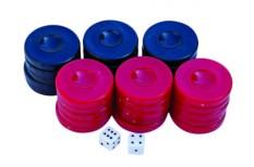 Πούλια για Τάβλι Μεσαία Σκούρο Μπλε/Κόκκινα 27mm