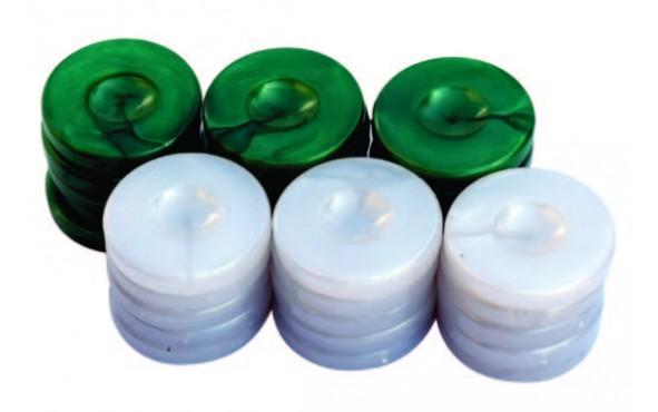 Πούλια για Τάβλι Τύπου Φίλντισι Πράσινα/Λευκά 36mm