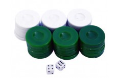 Πούλια για Τάβλι Μεσαία Πράσινα/Λευκά 27mm