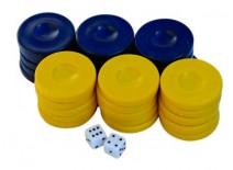 Πούλια για Τάβλι Μεσαία Σκούρο Μπλε/Κίτρινα