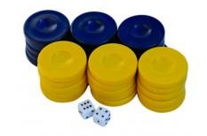 Πούλια για Τάβλι Μεσαία Σκούρο Μπλε/Κίτρινα 27mm