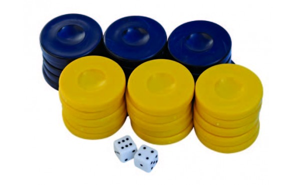 Πούλια για Τάβλι Σκούρο Μπλε/Κίτρινα 36mm