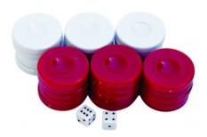 Πούλια για Τάβλι Μεσαία Κόκκινα/Λευκά 27mm