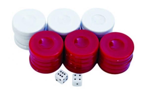 Πούλια για Τάβλι Κόκκινα/Λευκά 36mm